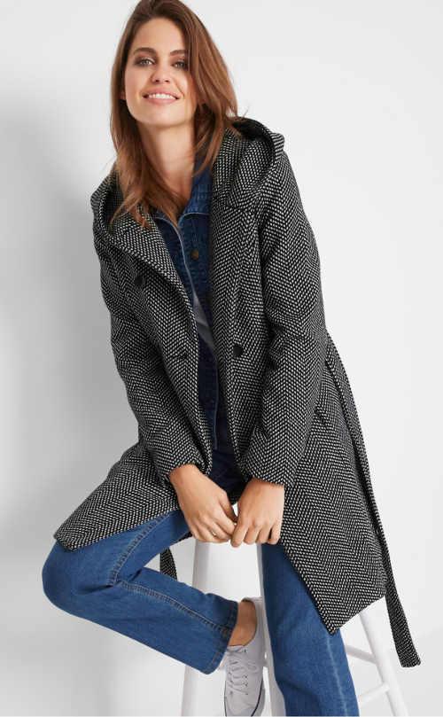 Prechodný dámsky elegantný kabát