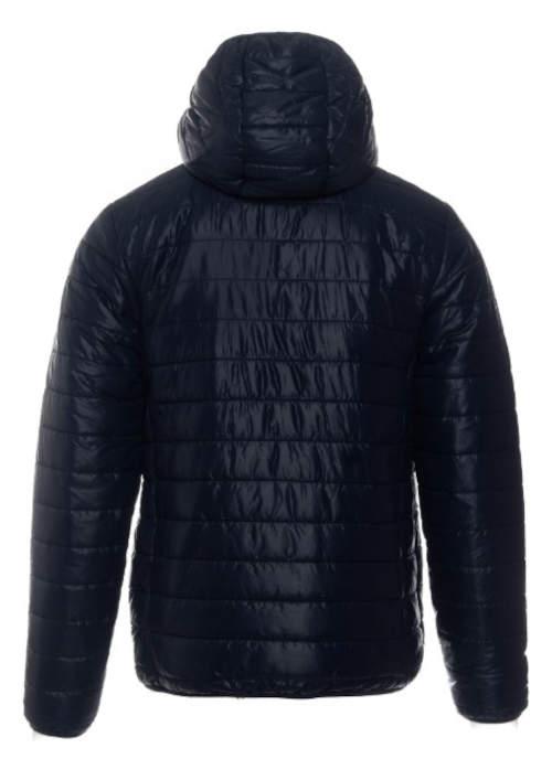 Tmavomodrá pánska prešívaná zimná bunda s kapucňou
