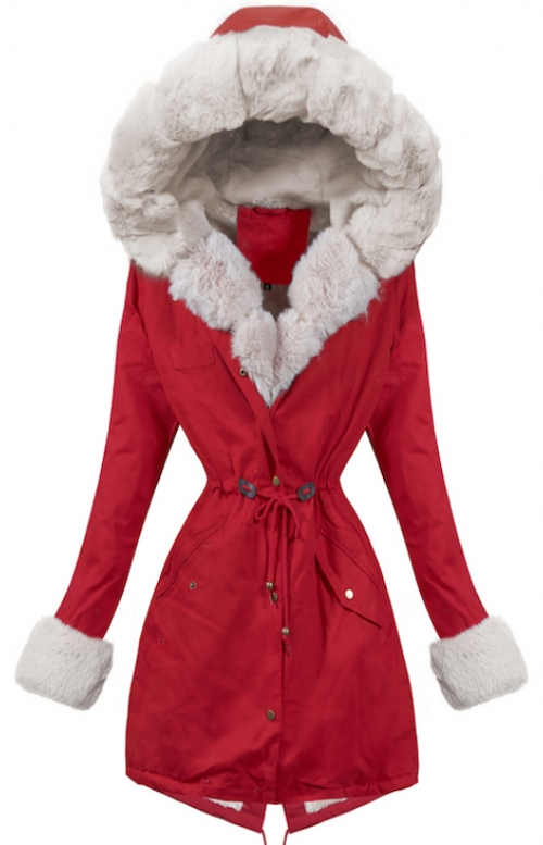 Červená bunda so zaväzovaním v páse