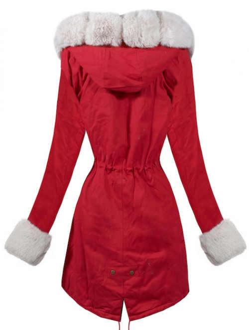 Červená dámska zimná bunda s kapucňou