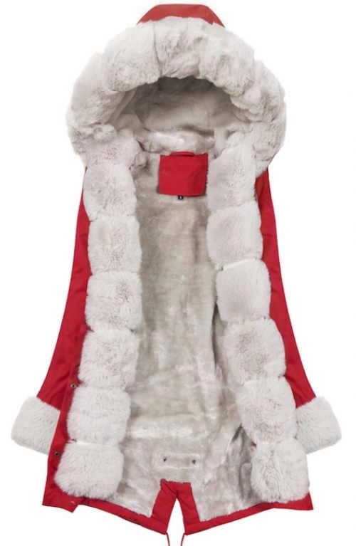 Červená zimná bunda s bielou teplou kožušinou