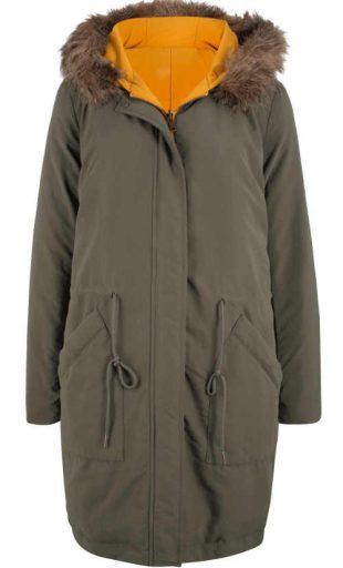 Dámska módna obojstranná bunda s kapucňou a kožušinovým lemom