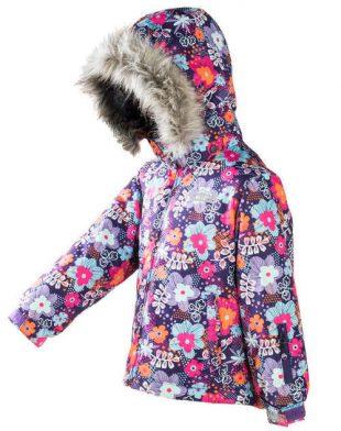 Detská zimná bunda s kvetinovým motívom
