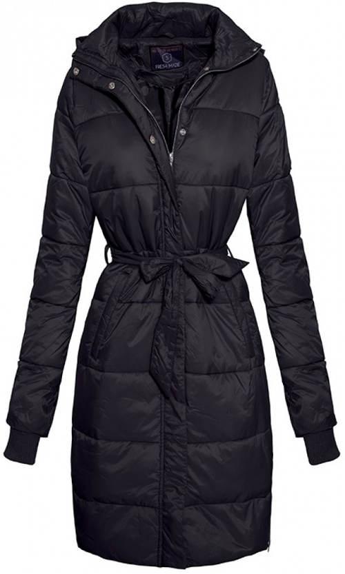 Dlhá čierna dámska zimná bunda