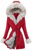 Dlhšia červená dámska zimná bunda so šnúrkou