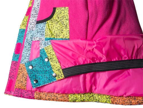 Farebná dievčenská zimná bunda s ružovou podšívkou