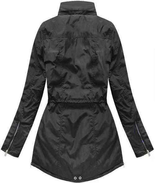 Moderná čierna dámska bunda dlhšia