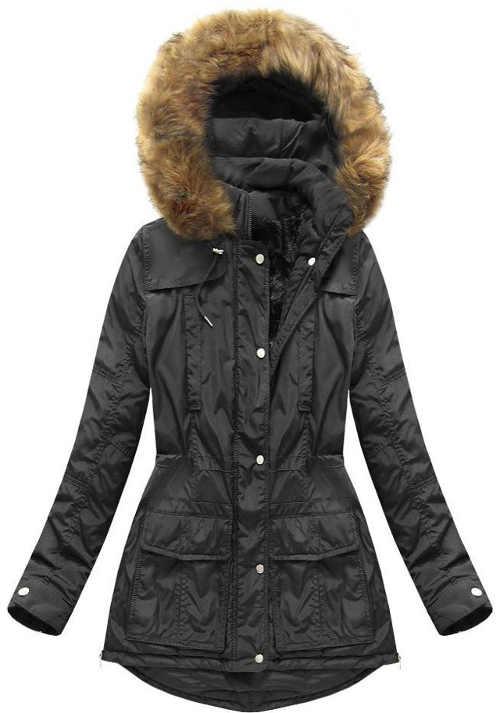 Moderná dámska prešívaná bunda v predĺženej dĺžke s kapucňou