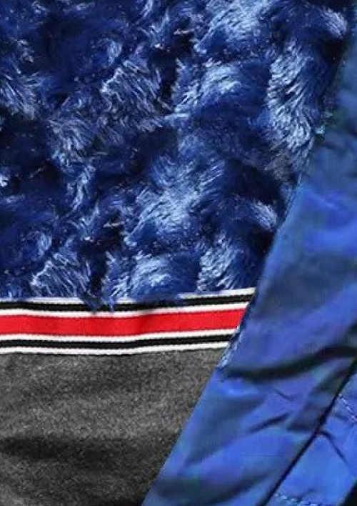 Moderná modrá zimná bunda z prešívania