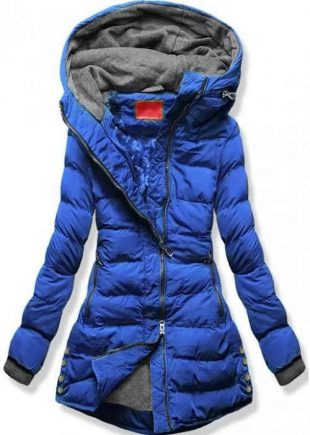 Modrá prešívaná zimná bunda