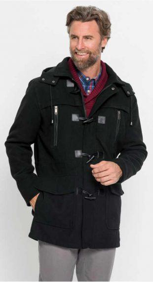 Pánsky plášť Dufflecoat vo vlnenom vzhľade