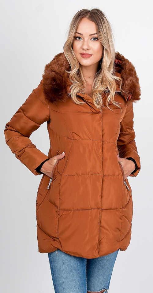 Svetlohnedá dámska zimná bunda s kožušinou