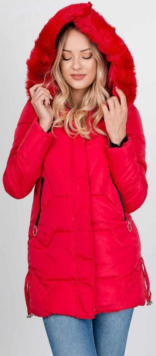 Červená dámska zimná bunda XXL so zipsom a patentkami