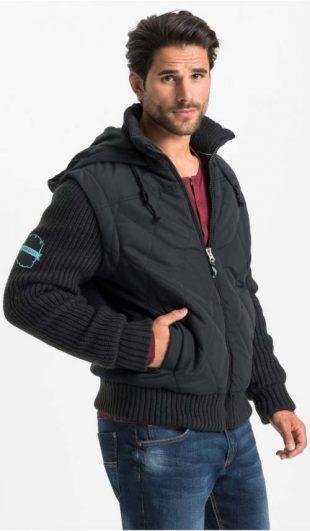 Čierna pánska zimná bunda s pletenými rukávmi a spodným lemom