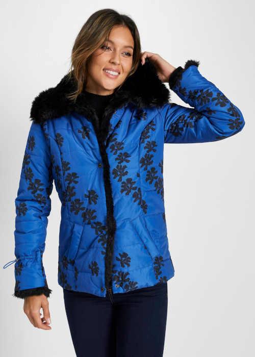 Čierno-modrá dámska krátka bunda