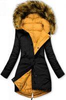 Čierno-žltá dámska obojstranná praktická zimná bunda