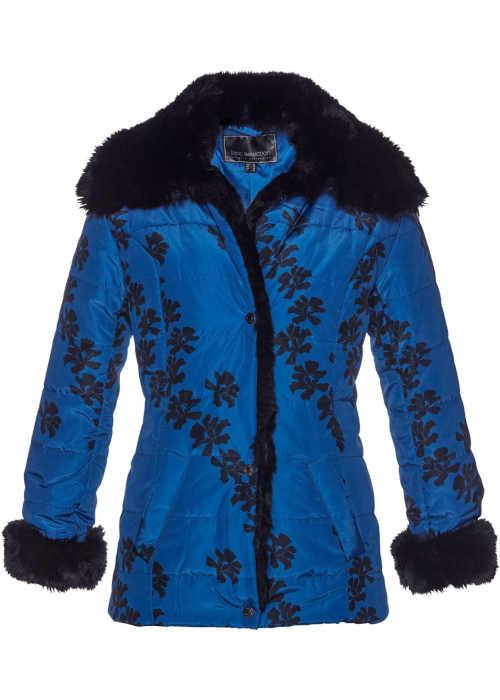 Dámska prešívaná zimná bunda s kvetinovým vzorom