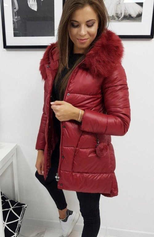 Dámska zimná prešívaná dlhá bunda s kožušinou a kapucňou