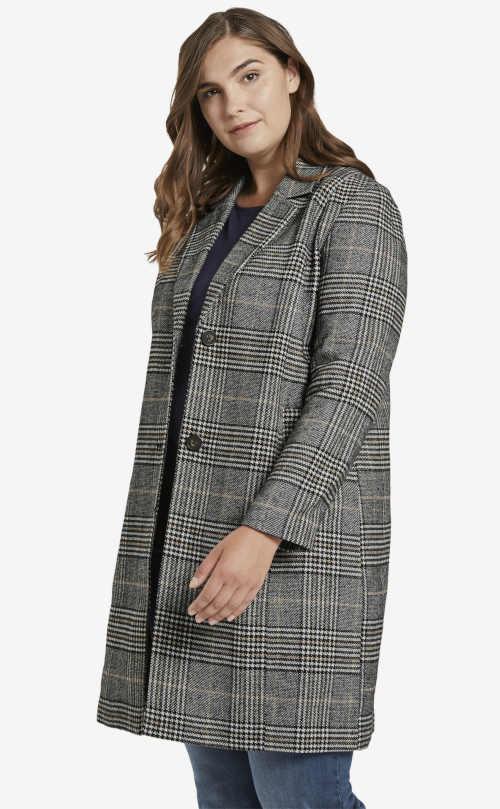 Dámsky kabát veľkosti plus v modernom kockovanom vzore