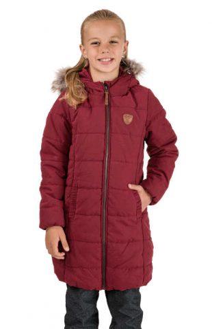 Dievčenský prešívaný kabát s kapucňou a kožušinovým lemom