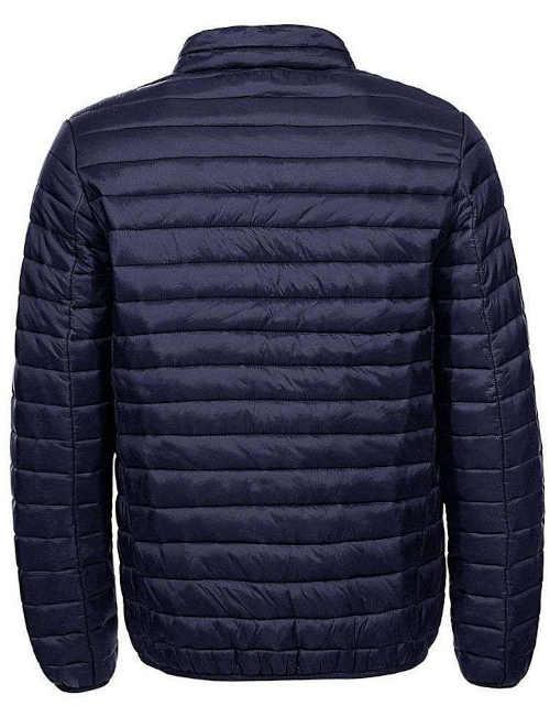 Krátka bunda v tmavomodrej farbe so stojatým golierom