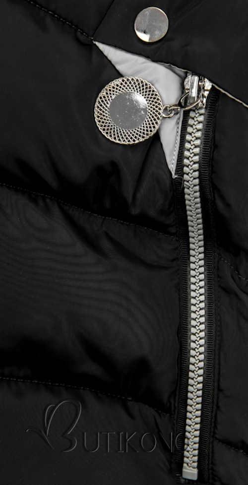 Prešívaná predĺžená bunda v čiernej farbe