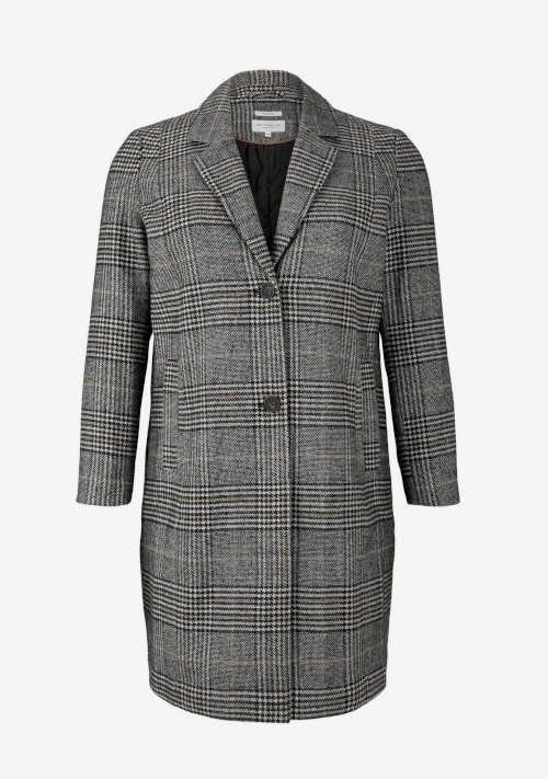 Moderný kockovaný dámsky kabát