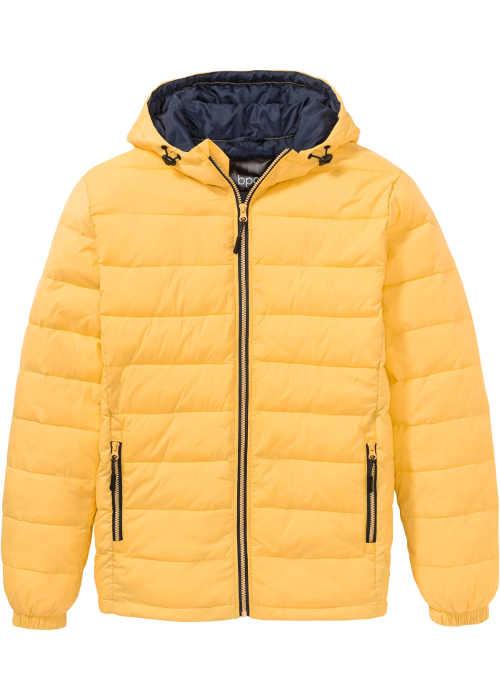 Pánska prešívaná bunda v žltej farbe s kontrastnými detailmi