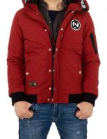 Pánska zimná bunda s kapucňou v červenej farbe