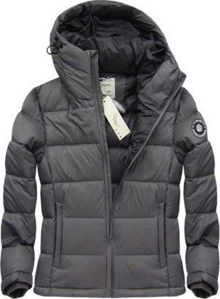 Šedá prešívaná ľahká pohodlná pánska zimná bunda